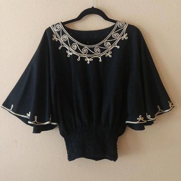 9a112f2729f98f Novica Tops   Embroidered Black Top Size M   Poshmark